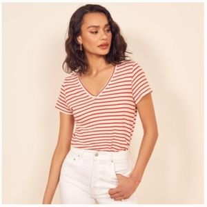 Reformation Striped V Neck Shirt - Size Medium